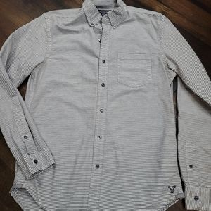 AE Mens Slim Fit Striped Button Down